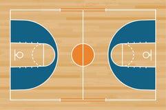 Πάτωμα γήπεδο μπάσκετ με τη γραμμή στο ξύλινο υπόβαθρο σύστασης σχεδίων Τομέας καλαθοσφαίρισης διάνυσμα διανυσματική απεικόνιση