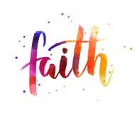 Πίστη - χειρόγραφο κείμενο watercolor ελεύθερη απεικόνιση δικαιώματος