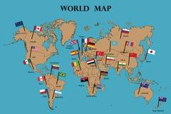 Παγκόσμιος χάρτης και παγκόσμια σημαία ελεύθερη απεικόνιση δικαιώματος