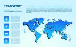 Παγκόσμιος χάρτης με τα διαφορετικές σημάδια και τη μεταφορά στοιχεία τέσσερα σχεδίου ανασκόπησης snowflakes λευκό στοκ φωτογραφία με δικαίωμα ελεύθερης χρήσης