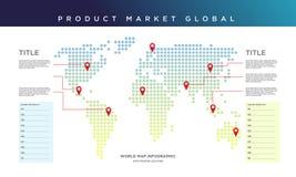 Παγκόσμιος χάρτης infographic Αγορά προϊόντων παγκόσμια ελεύθερη απεικόνιση δικαιώματος