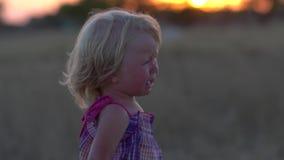 Παιδί στο ηλιοβασίλεμα στο λιβάδι Να φωνάξει παιδιών Χαλασμένη διάθεση Κατάθλιψη παιδικής ηλικίας απόθεμα βίντεο