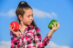 Παιδί που παρουσιάζει τα είδη πιπεριού Το παιδί κρατά τα ώριμα homegrown λαχανικά συγκομιδών πτώσης συγκομιδών πιπεριών Χορτοφάγο στοκ εικόνες