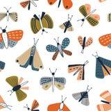 Παιδαριώδες άνευ ραφής σχέδιο με τους ζωηρόχρωμους σκώρους στο άσπρο υπόβαθρο Σκηνικό με τις πεταλούδες, νυκτερινός φτερωτός πετά διανυσματική απεικόνιση