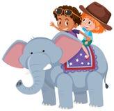 Παιδιά που οδηγούν έναν ελέφαντα διανυσματική απεικόνιση