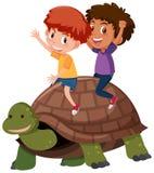 Παιδιά που οδηγούν μια χελώνα απεικόνιση αποθεμάτων