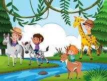 Παιδιά που οδηγούν το ζώο στη φύση διανυσματική απεικόνιση