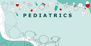 Παιδιατρική λέξης με τα εικονίδια υγειονομικής περίθαλψης, συμπεριλαμβανομένων των μπουκαλιών χαπιών και ιατρικής, φάρμακα, σύριγ ελεύθερη απεικόνιση δικαιώματος
