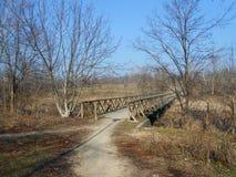 Παλαιά ξύλινη γέφυρα σε μια ουγγρική αγροτική περιοχή στην άκρη του δάσους στοκ φωτογραφία
