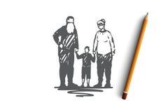 Παλαιός, ζεύγος, εγγονός, παππούδες και γιαγιάδες, έννοια αγάπης Συρμένο χέρι απομονωμένο διάνυσμα ελεύθερη απεικόνιση δικαιώματος