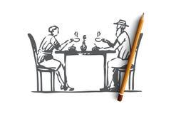 Παλαιός, ζεύγος, καφές, πρεσβύτερος, έννοια καφέδων Συρμένο χέρι απομονωμένο διάνυσμα απεικόνιση αποθεμάτων