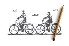 Παλαιός, ζεύγος, ποδήλατο, ευτυχής, αθλητική έννοια Συρμένο χέρι απομονωμένο διάνυσμα ελεύθερη απεικόνιση δικαιώματος
