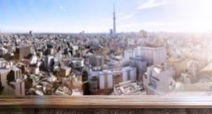 Πανοραμική σκηνή του θολωμένου Τόκιο ένα πρωί στοκ φωτογραφία