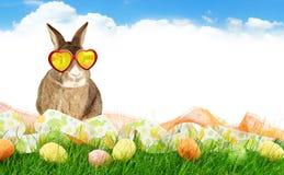 Πανόραμα με τα αυγά και το κουνέλι Πάσχας στο υπόβαθρο ουρανού στοκ εικόνα με δικαίωμα ελεύθερης χρήσης