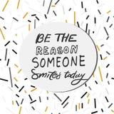 Παρακινήστε το ρητό Αισθανθείτε τη βροχή στο δέρμα σας Να είστε ο λόγος που κάποιος χαμογελά σήμερα Με κάνετε ευτυχησμένο όταν οι απεικόνιση αποθεμάτων