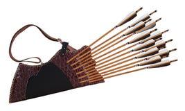 Παραδοσιακός Τούρκος τόξων αλόγων βελών ρίγου δέρματος τοξοβολίας μαύρος ξύλινος απομονωμένο στο λευκό υπόβαθρο στοκ φωτογραφίες με δικαίωμα ελεύθερης χρήσης