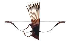 Παραδοσιακός Τούρκος τόξων αλόγων βελών ρίγου δέρματος τοξοβολίας μαύρος ξύλινος απομονωμένο στο λευκό υπόβαθρο στοκ εικόνα
