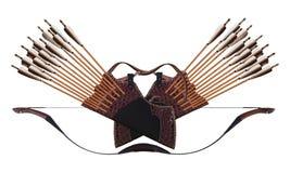 Παραδοσιακός Τούρκος τόξων αλόγων βελών ρίγου δέρματος τοξοβολίας μαύρος ξύλινος απομονωμένο στο λευκό υπόβαθρο στοκ φωτογραφία με δικαίωμα ελεύθερης χρήσης