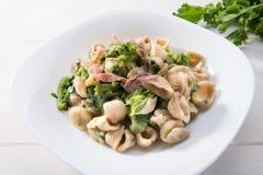 Παραδοσιακό πιάτο των ζυμαρικών Orecchiette περιοχών Apulia με τα πράσινα κραμβών και τις αλατισμένες αντσούγιες, τοπ άποψη, άσπρ στοκ εικόνες