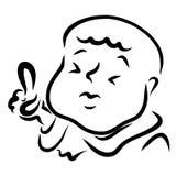 Παχύ άτομο ή παιδί με το φαλακρό επικεφαλής δάχτυλο υπόδειξης επάνω ελεύθερη απεικόνιση δικαιώματος