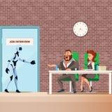 Περίπατος υπαλλήλων ρομπότ στην πόρτα για τη συνέντευξη εργασίας ελεύθερη απεικόνιση δικαιώματος