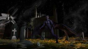 Πεσμένος άγγελος του θανάτου σε ένα απόκοσμο νεκροταφείο απεικόνιση αποθεμάτων