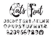 Πηγή γατών, χαριτωμένο γραπτό αλφάβητο, αριθμοί στοκ εικόνα