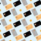 Πιστωτική κάρτα που απομονώνεται στο μπλε υπόβαθρο Άνευ ραφής διανυσματική απεικόνιση σχεδίων ελεύθερη απεικόνιση δικαιώματος