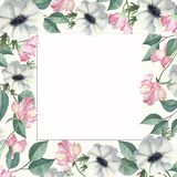 Πλαίσιο Watercolor των λουλουδιών και των κλάδων με τα πράσινα φύλλα ελεύθερη απεικόνιση δικαιώματος