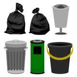Πλαστικά και μεταλλικά δοχεία, μαύρες πλαστικές τσάντες για τα απορρίματα απεικόνιση αποθεμάτων