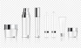 Πλαστό επάνω ρεαλιστικό διαφανές καλλυντικό μπουκαλιών, βάζο, σωλήνας, μολύβι για τον ορό αντι-γήρανσης ιδρύματος, σαπούνι, σαμπο διανυσματική απεικόνιση