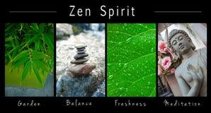 Πνεύμα της Zen - κολάζ με το κείμενο: Κήπος, ισορροπία, φρεσκάδα και περισυλλογή στοκ εικόνα
