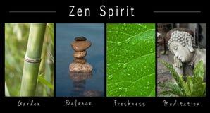 Πνεύμα της Zen - κολάζ με το κείμενο: Κήπος, ισορροπία, φρεσκάδα και περισυλλογή στοκ εικόνες με δικαίωμα ελεύθερης χρήσης
