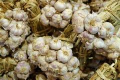 Πολλές δέσμες των φρέσκων βολβών σκόρδου που πωλούν στην αγορά στοκ εικόνες