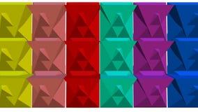 Πολύχρωμες γεωμετρικές τρισδιάστατες μορφές που κινούνται στο άσπρο υπόβαθρο, τρισδιάστατο καλειδοσκόπιο, εύθυμη ζωτικότητα vfx,  διανυσματική απεικόνιση