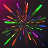 Πολύχρωμος αφηρημένος εορταστικός χαιρετισμός πυράκτωσης, πυροτεχνήματα, μαγική ενέργεια, λαμπρός ηλεκτρικός κοσμικός φλογερός τω ελεύθερη απεικόνιση δικαιώματος