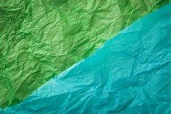 Πολύχρωμο τσαλακωμένο πραγματικό ζωηρό υπόβαθρο σύστασης φύλλων εγγράφου Πράσινος, κυανός στοκ εικόνες