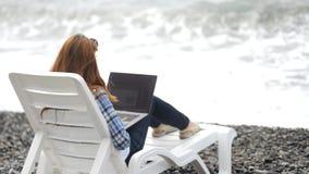 Πολυάσχολη κυρία που γράφει την επιστολή ηλεκτρονικού ταχυδρομείου στο lap-top κοντά στη θάλασσα φιλμ μικρού μήκους