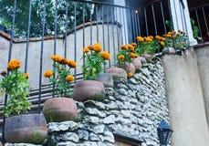 Πορτοκαλιά λουλούδια cempasuchil που διακοσμούν μια εκλεκτής ποιότητας σκάλα ο στοκ εικόνα