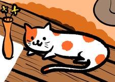 Πορτοκαλιά διαμορφωμένη σημείο γάτα στο να δειπνήσει πίνακα απεικόνιση αποθεμάτων