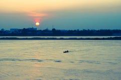 Ποταμός Mekong στο ηλιοβασίλεμα, Savannakhet, Λάος στοκ φωτογραφίες