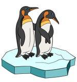 Πουλιά κινούμενων σχεδίων Χαμόγελο δύο μικρό χαριτωμένο penguins ελεύθερη απεικόνιση δικαιώματος