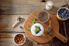 Πουτίγκα Chia με τα φρέσκα μούρα και το γάλα αμυγδάλων Έννοια Superfood Χορτοφάγου και υγιεινής κατανάλωσης διατροφή Vegan, με ορ στοκ εικόνες