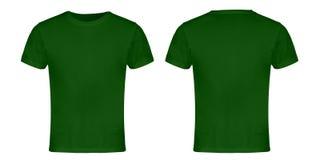 Πράσινες κενές μέτωπο και πλάτη μπλουζών στοκ φωτογραφίες