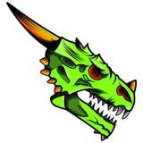Πράσινη επικεφαλής μασκότ δράκων διανυσματική απεικόνιση