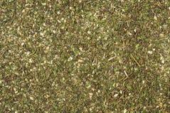 Πράσινο αλμυρό μίγμα ή υπόβαθρο Chubritsa Φυσική σύσταση καρυκευμάτων Φυσικά καρυκεύματα και συστατικά τροφίμων στοκ εικόνες
