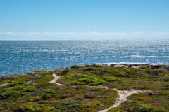Πράσινο τοπίο και μπλε ωκεανός στον κόλπο δυναμίτη στο πράσινο κεφάλι, δυτική Αυστραλία στοκ εικόνες με δικαίωμα ελεύθερης χρήσης