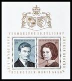 Πρίγκηπας Hans Adams και κοντέσα Marie Aglae Kinsky στα γραμματόσημα στοκ εικόνες