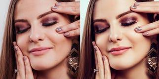 Πριν και μετά από στο συντάκτη Δίπλα-δίπλα πορτρέτα ομορφιάς της γυναίκας με το makeup και το μανικιούρ επεξεργασθε'ντα στοκ φωτογραφία