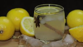 Προσθέστε μια φέτα του λεμονιού σε ένα κοκτέιλ φιλμ μικρού μήκους